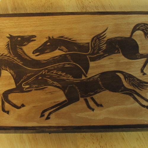 Petite gravure sur bois : CHEVAUX.